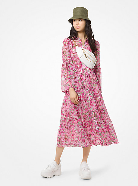 4061f19bff2 Robe en mousseline à motif floral et à volants