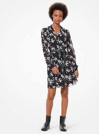 Robe chemise en crêpe georgette à imprimé végétal · michael michael kors ... f552623578a