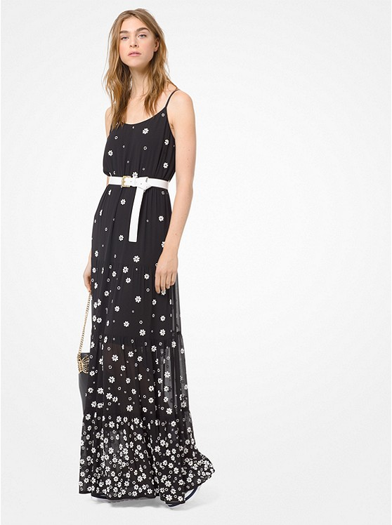 Floral Embellished Georgette Maxi Dress by Michael Michael Kors