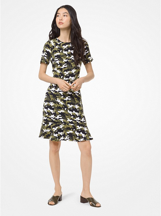 Camouflage Flounce Dress