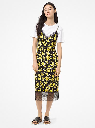 92d7b7bf7226 Robe à bretelles fleurie en jersey mat