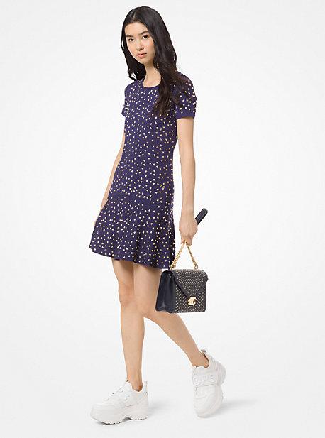 9e62379b57 Studded Stretch-Viscose Flare Dress