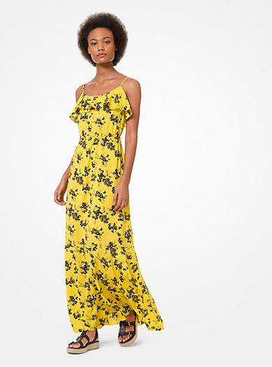 836879e600e13 Vestido maxi de crepé con estampado floral