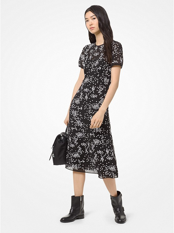 Floral Sequined Georgette Dress by Michael Michael Kors