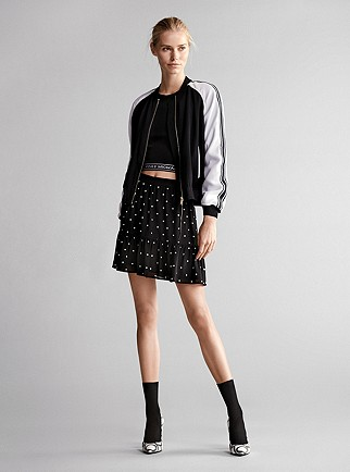 ce38525f8 Bomber Jacket, Logo Tape Cropped T-Shirt, Grommeted Skirt, Claire Pump