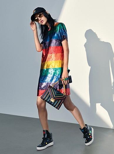 d21053cfe7cf Rainbow Sequined T-shirt Dress, Whitney Shoulder Bag, Trent Sneaker ...