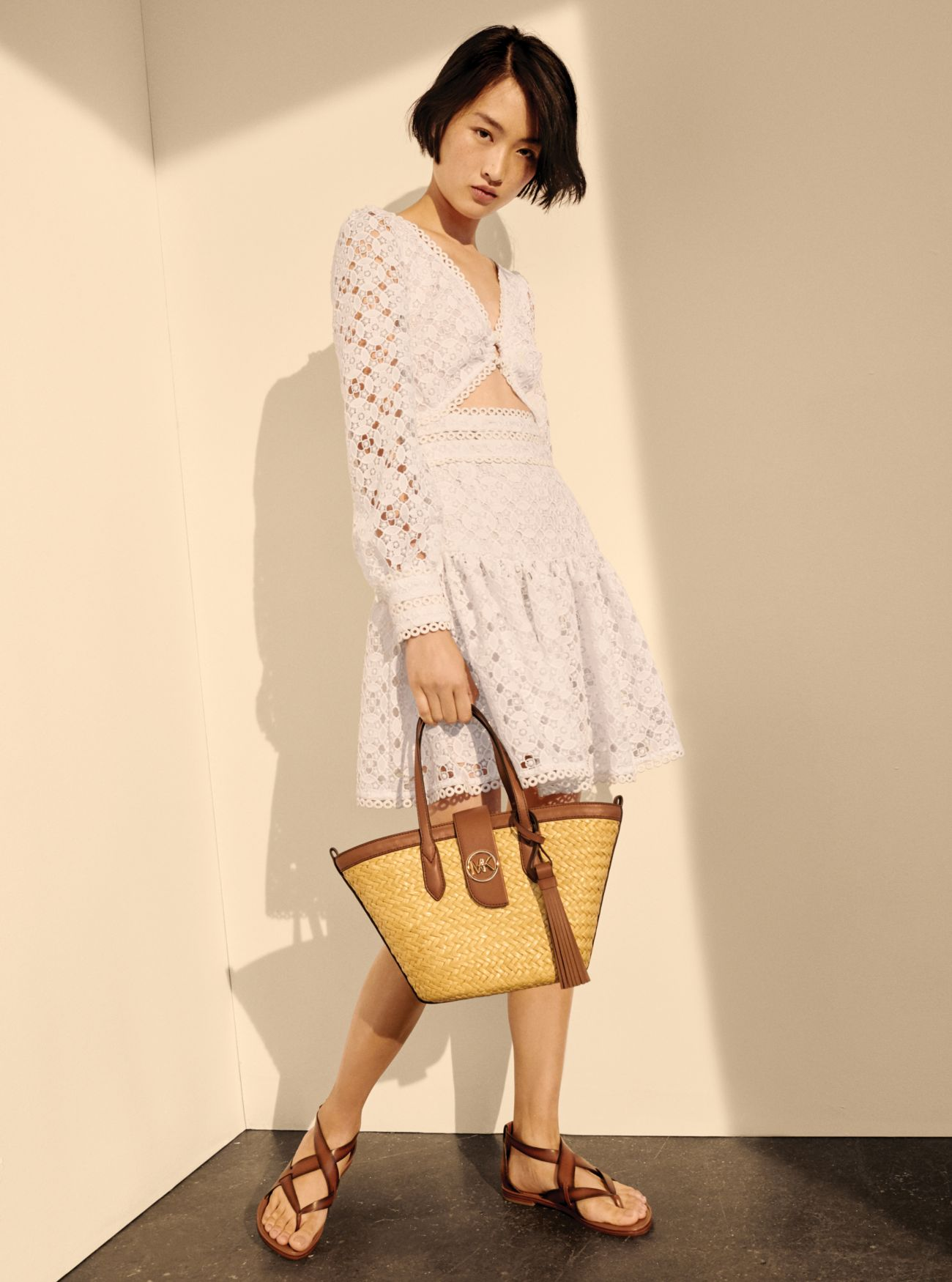 Lace Cutout Dress, Malibu Tote, Shaw Sandal | Michael Kors