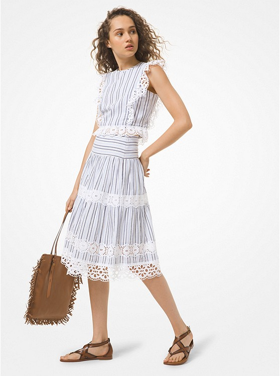 Striped Cotton Gauze and Eyelet Cropped Top