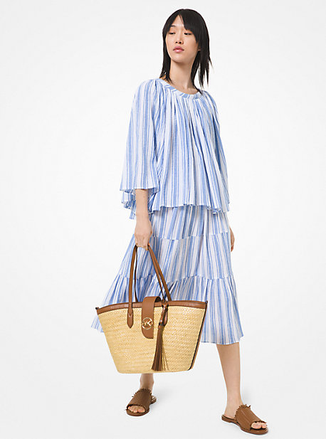 마이클 마이클 코어스 스커트 Michael Michael Kors Striped Cotton Gauze Tiered Skirt,Crew Blue