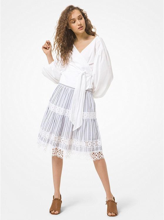 Striped Cotton Gauze and Eyelet Skirt