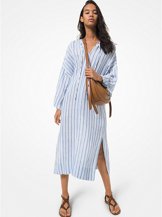 Striped Cotton and Linen Dress