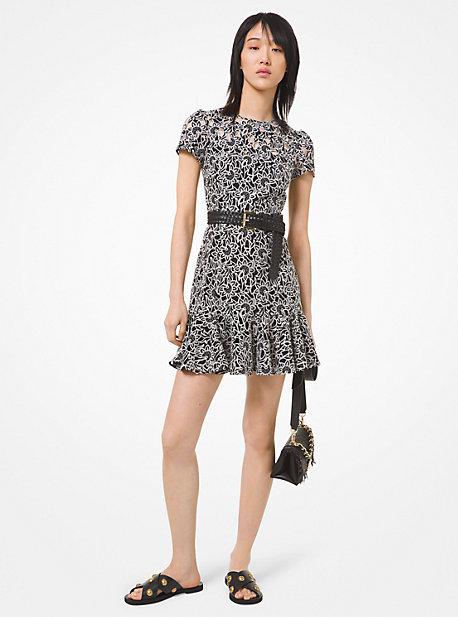 마이클 마이클 코어스 플로럴 자수 원피스 (최소라 착용) Michael Michael Kors Floral Embroidered Flounce Dress,BLACK/BONE
