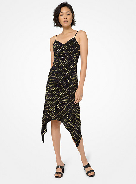마이클 마이클 코어스 원피스 Michael Michael Kors Embellished Handkerchief Hem Midi Dress,BLACK