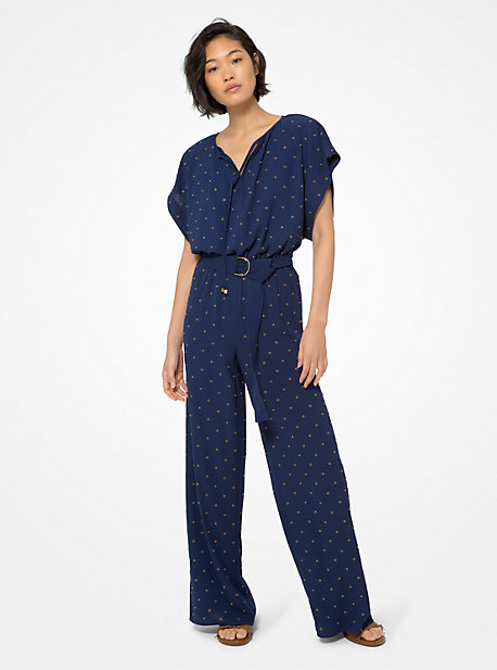 마이클 마이클 코어스 점프수트 Michael Michael Kors Grommeted Crepe Jumpsuit,TRUE NAVY