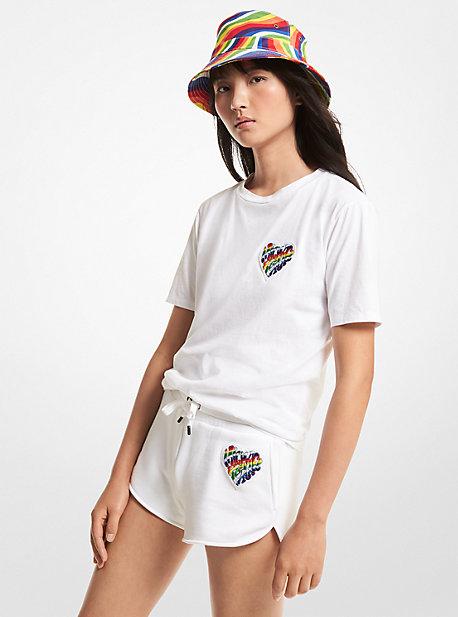마이클 마이클 코어스 프라이드 하트 로고 반바지 ('식스센스 2' 미주 착용) Michael Michael Kors Pride Heart Logo Organic Cotton Blend Shorts