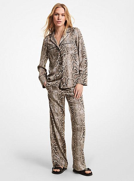 마이클 마이클 코어스 스네이크 파자마 팬츠 Michael Michael Kors Embellished Snake Crushed Crepe Pajama Pants,DUNE