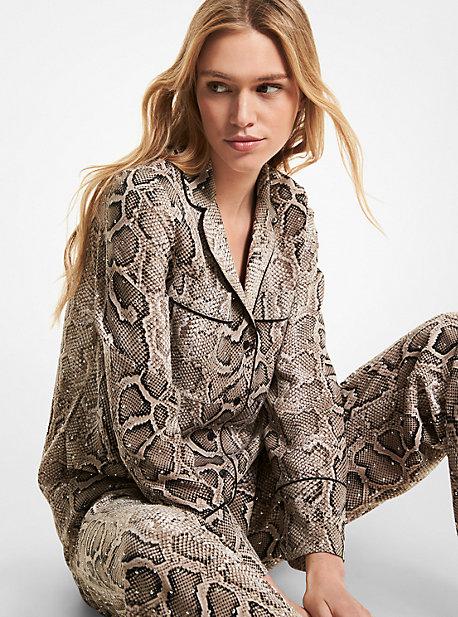 마이클 마이클 코어스 파자마 셔츠 Michael Michael Kors Embellished Snake Crushed Crepe Pajama Shirt,DUNE