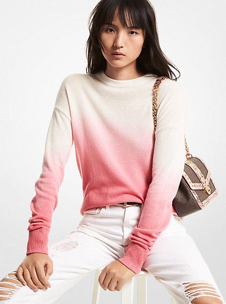 마이클 마이클 코어스 옴브레 타이다이 캐시미어 스웨터Michael Michael Kors Ombre Dip Dye Cashmere Sweater,ROSE PINK