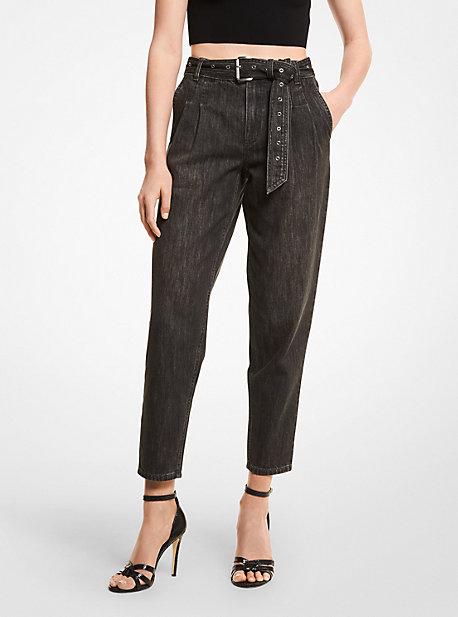 마이클 마이클 코어스 데님 진 Michael Michael Kors Stretch Denim Belted Jeans,CHARCOAL