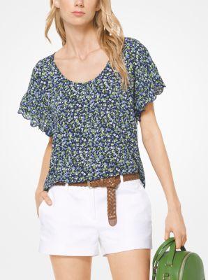 8e2659f15bd Floral Crepe Flounce-Sleeve Top
