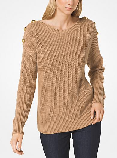 5a874fb41e Cotton-Blend Button-Shoulder Pullover