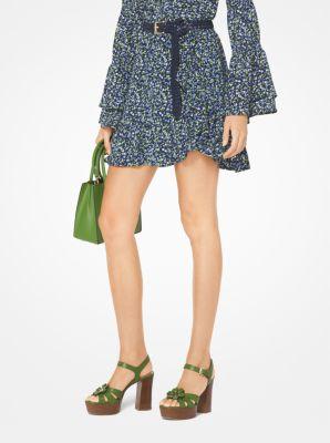 db08dff36a Floral Crepe Belted Skirt   Michael Kors