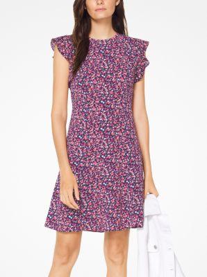 230977dbd84 Floral Crepe Flounce-Sleeve Dress