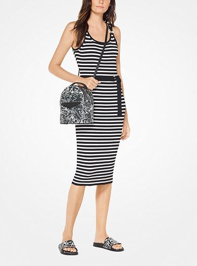 Striped Stretch Belted Dress Michael Kors