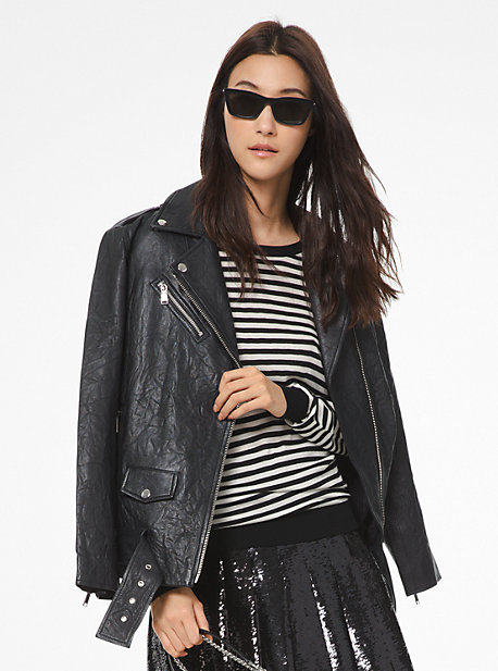 c7b54f2bf93f Crinkled Leather Moto Jacket · michael michael kors · Crinkled Leather Moto  Jacket ·  595.00 595.00