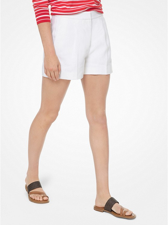 Washed Linen Pleated Shorts by Michael Michael Kors