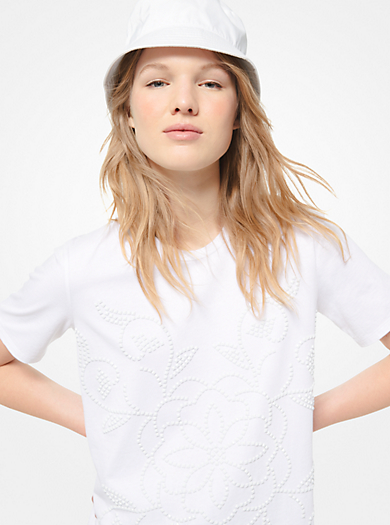 831264ee49a6c Floral Medallion Studded Cotton-Jersey T-Shirt. michael michael kors ·  Floral Medallion Studded ...
