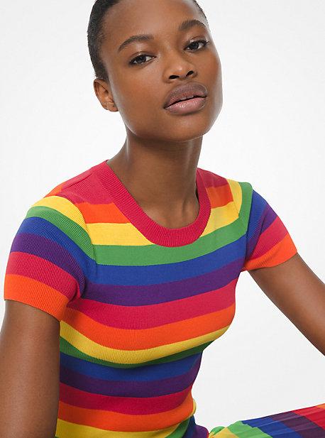 d338ce40 Rainbow Stretch-Viscose Short-Sleeve Sweater. michael michael kors ...