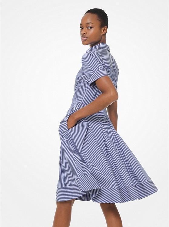Striped Poplin Pleated Shirtdress