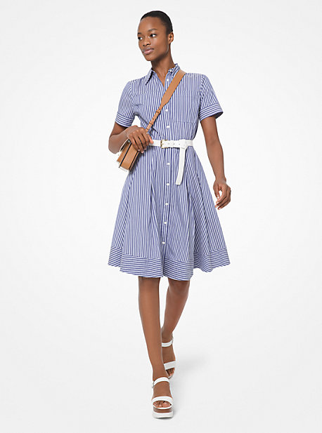 0fa12570d85cd6 Striped Poplin Pleated Shirtdress
