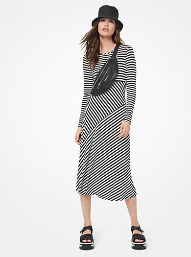 31e37f82188fce Gestreiftes Kleid aus dichtem Stretch-Jersey