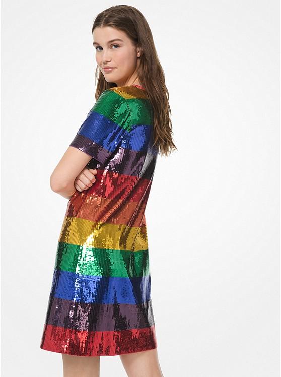 e9266cbb6557 Rainbow Sequined Cotton-jersey T-shirt Dress | Michael Kors