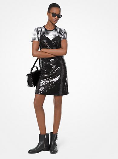 6fef8a2f9113ed Slip-Kleid aus Krepp-Jersey mit Pailletten